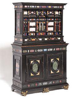 An Italian Pietra Dura, ebony and ebonised cabinet. 17th cen