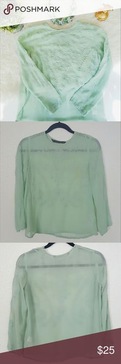 ZARA sheer mint embroidered shirt Please let me know if you are interested or want to make an offer! Forever 21 Tops Blouses