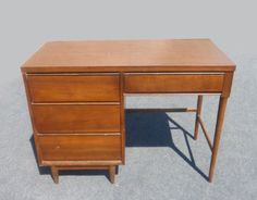 Vintage Danish Mid Century Modern Style Writing DESK 4 Drawers Peg Legs  in Antiques, Furniture, Desks & Secretaries, Post-1950 | eBay
