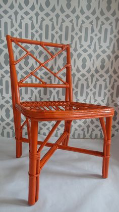 VINTAGE BAMBOO Chair Chinoiserie/ Chinese Chippendale/ HERMES orange/Set of Five. $175.00, via Etsy.