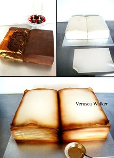Book Cake by Verusca.Book Cake by Verusca. Cake Decorating With Fondant, Cake Decorating Techniques, Cake Decorating Tutorials, Cookie Decorating, Fondant Cakes, Cupcake Cakes, Fondant Cake Tutorial, 3d Cakes, Bolo Chanel