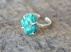 Turqouise ring / Turqouise with sterling silver Ring / Raw Apatite ring / Adjustable Ring / Minimalist Ring by GemsfieldShop on Etsy https://www.etsy.com/listing/248304710/turqouise-ring-turqouise-with-sterling