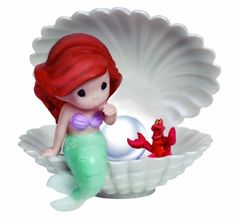 Precious Moments Disney Ariel in Shell with LED Pearl Figurine