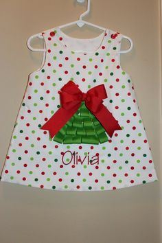 Girls Ribbon Christmas Tree Dress by Oohlawee on Etsy Toddler Christmas, Christmas Sewing, Christmas Crafts, Holiday Dresses, Holiday Outfits, Xmas Dresses, Toddler Dress, Baby Dress, Christmas Tree Dress