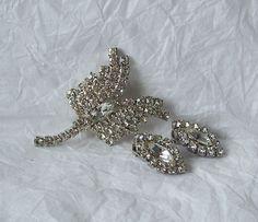 Vintage Rhinestone Brooch & Earrings clip on by MargsMostlyVintage, $18.00