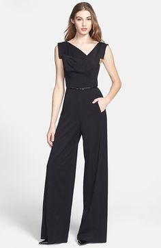 Black Halo Wide Leg Jumpsuit ღ Black Jumpsuit Outfit, Jumpsuit Style, Wedding Pantsuit, Halo, Stylish Outfits, Fashion Outfits, Elegant Outfit, Rompers Women, Wide Leg