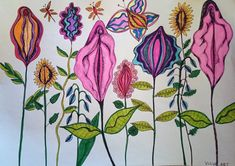 vulva garden by ArtByLenaOberg on Etsy