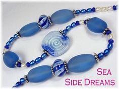 Sea Side Dreams - Sterling Silver Lampwork Art Glass Sapphire Sea Glass Pearl Necklace OOAK Jewelry