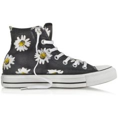Converse Limited Edition Chuck Taylor All Star Black and Citrus Daisy Printed Canvas High Top Sneaker and other apparel, accessories and trends. Converse Outfits, Converse Sneakers, Converse All Star, Canvas Sneakers, High Top Converse, Cool Converse, Vans, Black Canvas Shoes, Black Shoes