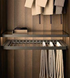 Fittings Tech - Pull-Out Tray With Trousers & Skirt Hangers Wardrobe Room, Wardrobe Design Bedroom, Master Bedroom Closet, Walk In Closet Design, Closet Designs, Skirt Hangers, Trouser Hangers, Dressing Room Design, Cupboard Design
