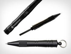 "t's easy to think that all pens are the same, until you come across Smith & Wesson's Tactical Pen with Fire Striker ($40). This discreet weapon of ""math"" destruction uses common replaceable Parker or Houser ball point ink cartridges for civilized affairs; 6.1″, 6061 hard anodized aluminum casing."