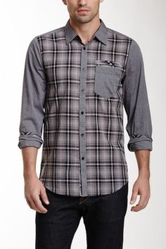 Plaid Mix Media Long Sleeve Shirt