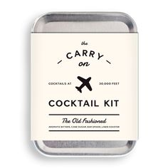 W&P's Carry On Cocktail Kit includes everything you need to craft two delicious Old Fashioned cocktails mid-flight—minus the hard stuff, of course. Kit Components: - Carry On Tin - Recipe Card - Spoon
