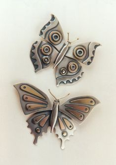 "Brooch/Pendant | Ahlene Welsh. ""Butterflies"". Sterling silver and 14k gold"
