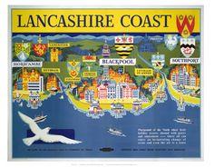 'Lancashire Coast', BR (LMR) poster, 1957. British Railways (London Midland Region) travel poster. 16