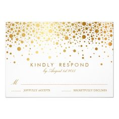 Formal Wedding Invitation RSVP Faux Gold Foil Confetti Dots Wedding RSVP Card
