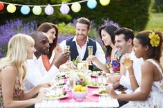 Group Of Friends Enjoying Outdoor Dinner Party by monkeybusiness. Group Of Friends Enjoying Outdoor Dinner Party Wedding Reception Food, Wedding Rehearsal, Rehearsal Dinners, Reception Ideas, Plan Your Wedding, Wedding Planning, Wedding Advice, Wedding Ideas, Party Planning