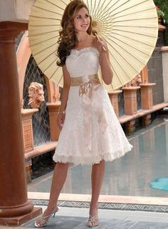 Ruffle Sweetheart Lace overlay Sash Short Knee Length Wedding Dress #bridesmaidsdresses #plussizeweddingdresses #sexyweddingdresses