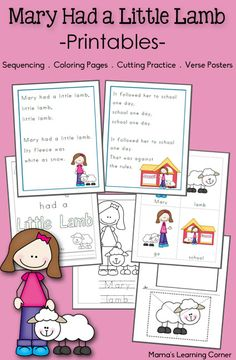 Mary Had a Little Lamb Printable Activities - cutting practice, verse posters, sequencing cards, and coloring pages!