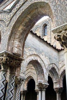 Detail of mosaics along cloister columns at Monreale's Arab-Norman cathedral, Sicily, Italy