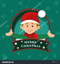 Christmas greeting card with the image of a smiling Santa's helper and a welcome text merry Christmas