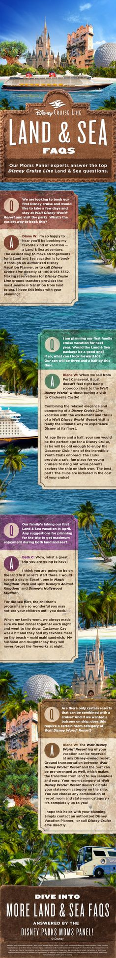 Our Disney Parks Moms Panelist Disney Cruise Line Specialists have answered your frequently asked questions about taking a Disney Cruise following a trip to Walt Disney World. Click to learn more about a Land & Sea vacation!