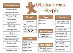 Glyphs asre god for language through symbols and comparing  - I did snowmen last year the kids loved it! Gingerbread are great too!