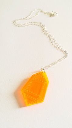 Fluorescent Orange Small Crystal Pendant by GalacticAffair on Etsy