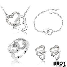 KACY'S DOUBLE HEART JEWELLERY SET, JUST FOR INR 499/- FREE SHIPPING, COD AVAILABLE SHOP HERE : http://kacyworld.com/product/double-hear-jewellery-set/