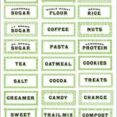 Printable Kitchen Labels