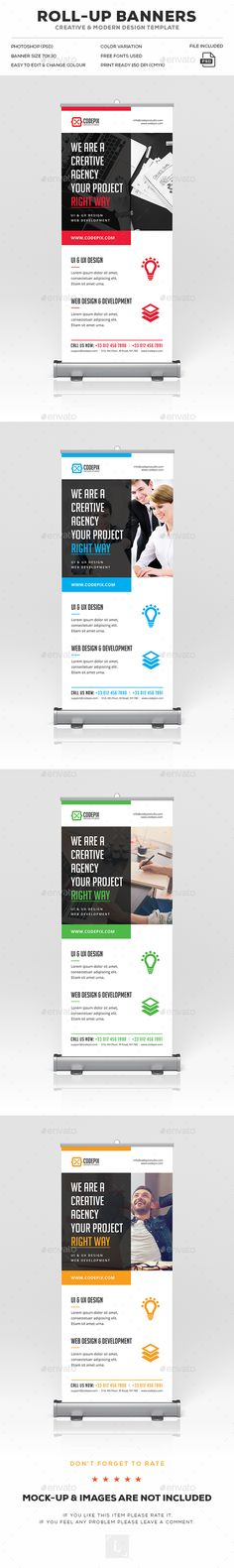 Roll-Up Banner Ads Design Template - Signage Print Template PSD. Download here: https://graphicriver.net/item/rollup-banner/17043453?s_rank=162&ref=yinkira
