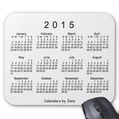 White 2015 Calendar By Janz Mouse Pad