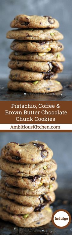 A unique cookie made with brown butter and packed with chocolate chunks, pistachios and a hint of coffee flavor. Tea Cakes, Coffe Recipes, Dessert Recipes, Shortbread, Biscotti, Macarons, Chocolate Chunk Cookies, Brown Butter, Vegetarian Chocolate