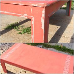 Upcycled table Painted furniture Upcycle recycle reuse repurpose relove  Furniture makeover  Grey silver red orange Bright  Accent  Distressed  Chalk paint  Stenciled  DIY  Unique Bohemian  Funky    Shabby chic cottage chic  https://www.facebook.com/PotluckConsignments