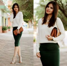 tight pencil skirt with sweater tucked in