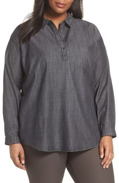 Free shipping and returns on Eileen Fisher Classic Collar Shirt (Plus Size) at Nordstrom.com. Denim workshirt styling shows a softer side in this cotton twill shirt that features a subtle sheen and a touch of Tencel®.