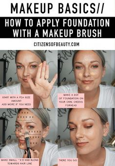 Check out these easy tips on applying foundation with a makeup brush! #BeautyHacksForTeens Makeup Tutorial Foundation, Foundation Tips, How To Apply Foundation, Foundation Brush, Flawless Foundation Application, Makeup Application, Makeup Hacks Foundation, Basic Makeup Tutorial, Make Up Tutorials
