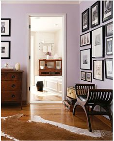 pale lavender bedrooms - Google Search Love the photo display here as well. Perhaps some sort of design in moms room.
