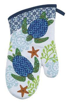 Coastal Blue and Green Sea Turtle Kitchen Oven Mitt Kay Dee