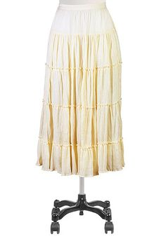 Tiers of textured crinkle cotton gauze create volume in our long skirt further detailed with horizontal ruffled seams.