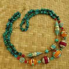 N1105 Nepalese Artisan Handmade Turquoise Resin Coral Brass Necklace 22by eksha. - Tibetan Nepalese handmade beads, pendants, necklaces, and jewelry from Nepal by Eksha Creations