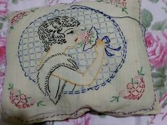 Vintage Embroidery Cross Stitch Pillow 1920 Flapper | eBay