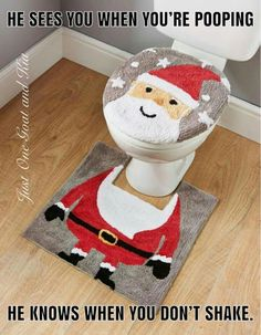 Add Christmas Fun To Your Bathroom With This Santa Toilet Seat Cover And Pedestal Mat Set Dimensions X