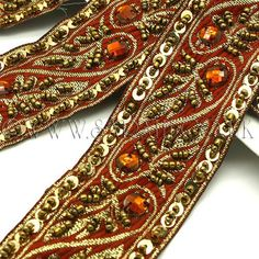 BROWN GOLD BEADED & SEQUIN RIBBON  TRIM  - sarahi.co.uk