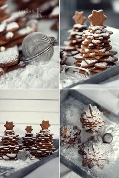 star shaped cookies into christmas trees