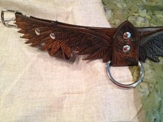 Wing Hand Tooled Leather Dog Collar Antique by FinelyTooled                                                                                                                                                                                 More