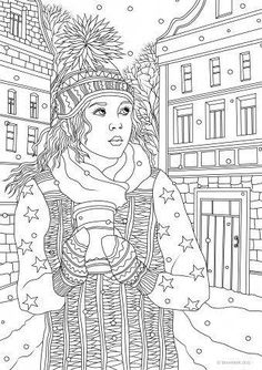 Winter Girl - Printable Adult Coloring Pages from Favoreads - Winter Girl coloring page Whale Coloring Pages, Elephant Coloring Page, Spring Coloring Pages, Pattern Coloring Pages, Cat Coloring Page, Printable Adult Coloring Pages, Coloring Pages For Girls, Coloring Book Pages, Winter Girl