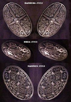 Three styles of Norse brooches from the Vault of Valhalla. www.vault-of-valhalla.com Viking Garb, Viking Reenactment, Viking Dress, Medieval Jewelry, Viking Jewelry, Viking Culture, Viking Clothing, Norse Vikings, Viking Woman