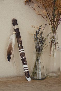 Hand Painted Driftwood Feather Stick Inspired by by DayCrafter