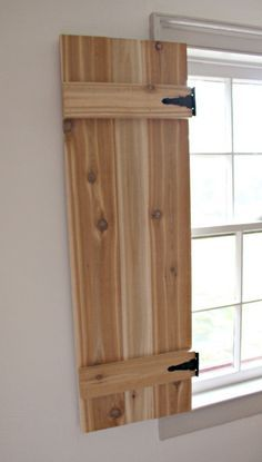 Hello Pretty Handy friends, Jaime from That's My Letter here today to share how to build functional interior cedar shutters using inexpensive AND readily available hardware. I have been itching to bui Diy Interior Shutters, Diy Shutters, Interior Windows, Interior Barn Doors, Indoor Window Shutters, Inside Shutters For Windows, Farmhouse Shutters, Cedar Shutters, Primitive Shutters